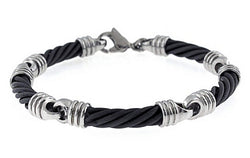 Men's Signature Cable Collection Gray Titanium and Stainless Steel 4mm Cable Link Bracelet, 8""