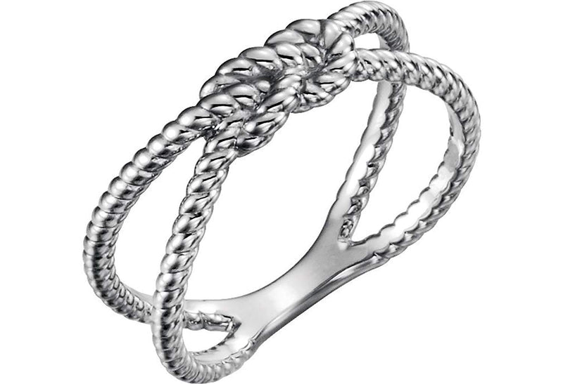 Love Knot Rope Trim Crisscross Ring, Sterling Silver