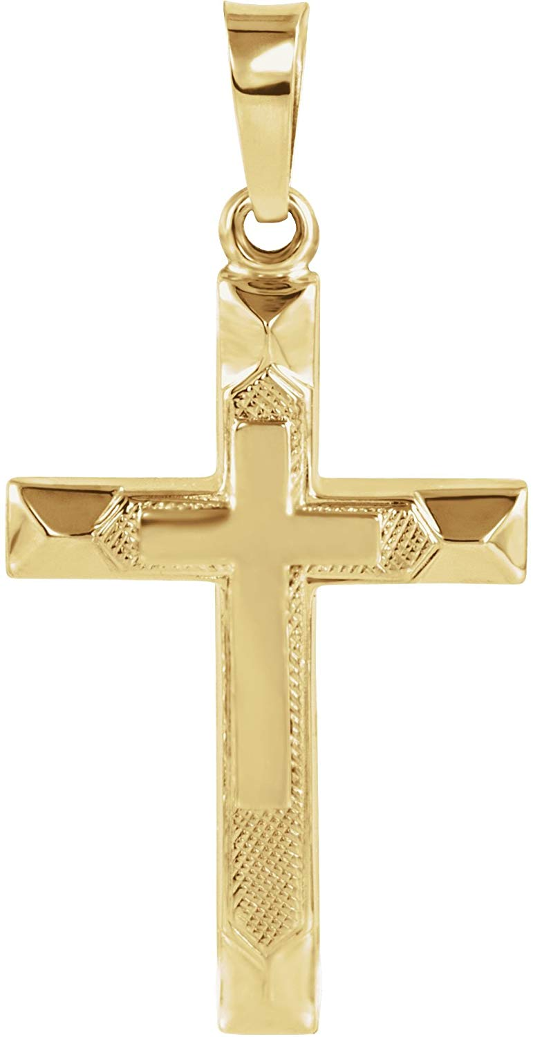 Hollow Christian Cross 14k Yellow Gold Pendant (20.5X14MM)