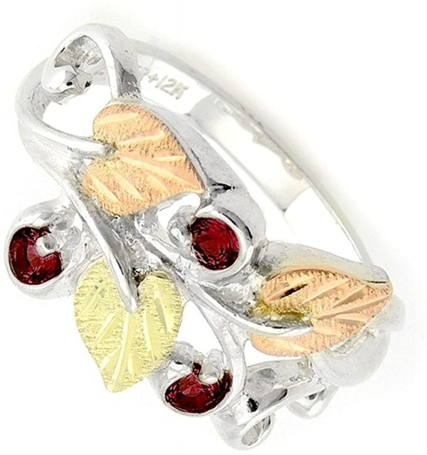 Lab Created Garnet January Birthstone Ring, Sterling Silver, 12k Green and Rose Gold Black Hills Gold Motif, Size 8.75