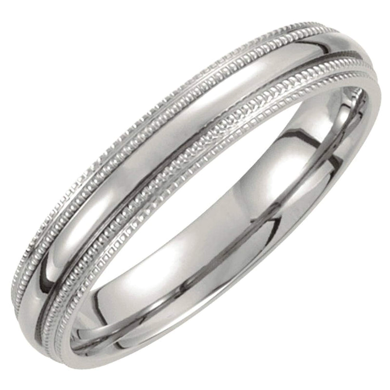 Titanium Double Milgrain 4mm Comfort Fit Band Size 9