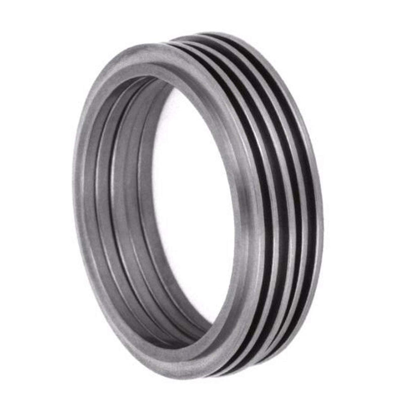 Modern Stack Design 5mm Comfort-Fit Matte Titanium Band