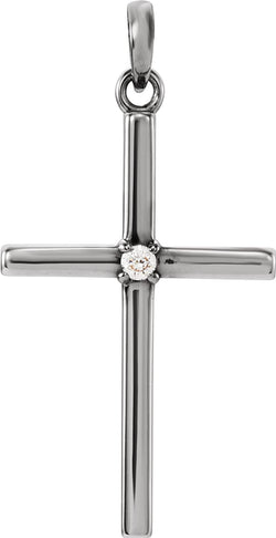 Diamond Inset Cross Rhodium-Plated 14k White Gold Pendant (.02 Ct, G-H Color, I1 Clarity)