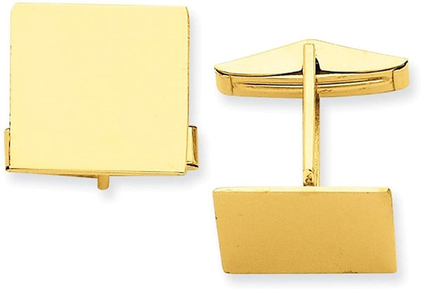 14k Yellow Gold Square Cuff Links, 17MM