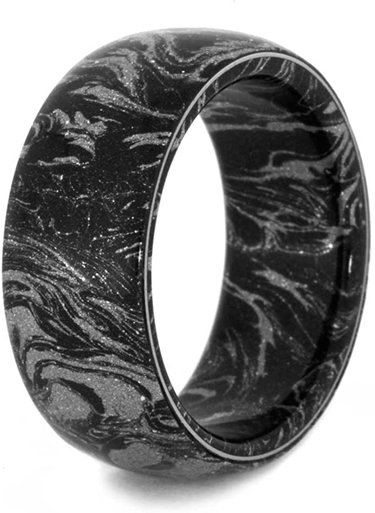 Black and White Composite Mokume Sleeve 10mm Comfort-Fit Matte Titanium Ring, Size 12.25