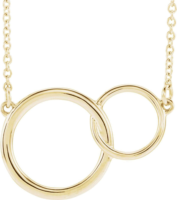 Interlocking Circle Necklace, 14k Yellow Gold, 18""