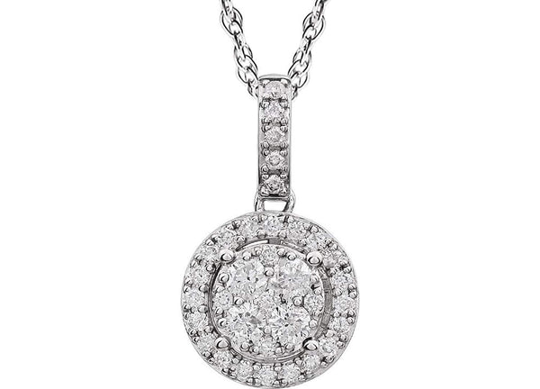 "Diamond Halo Cluster 14K White Gold Pendant Necklace, 18"" (1/2 Cttw)"