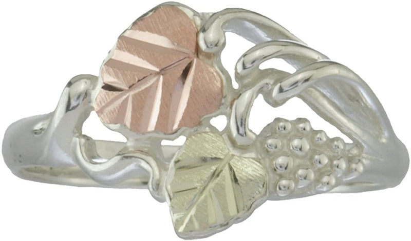 Leaf and Grape Cluster Cocktail Ring, Sterling Silver, 12k Green and Rose Gold Black Hills Gold Motif, Size 6.5