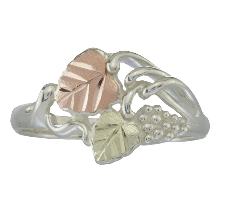 Leaf and Grape Cluster Cocktail Ring, Sterling Silver, 12k Green and Rose Gold Black Hills Gold Motif, Size 10