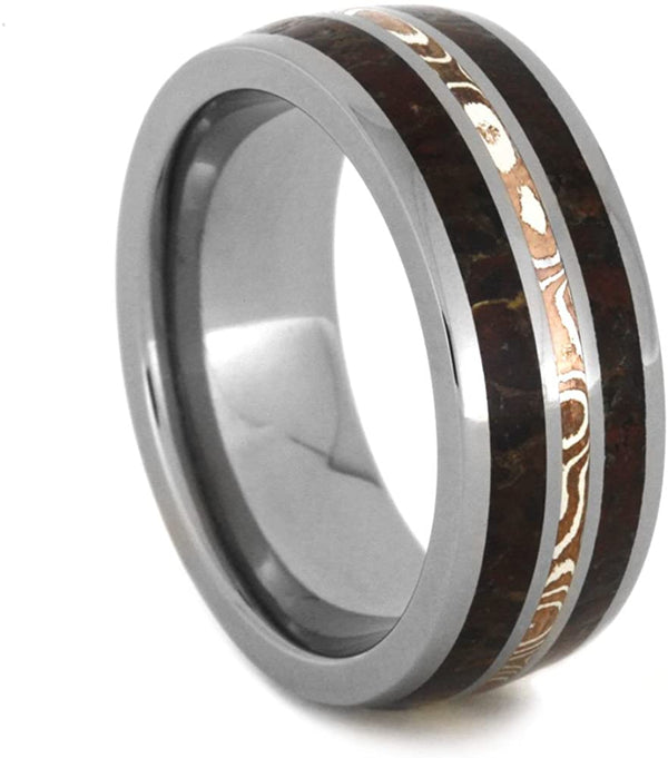 Dinosaur Bone, Mokume Gane 8mm Comfort-Fit Titanium Wedding Band, Size 4.25