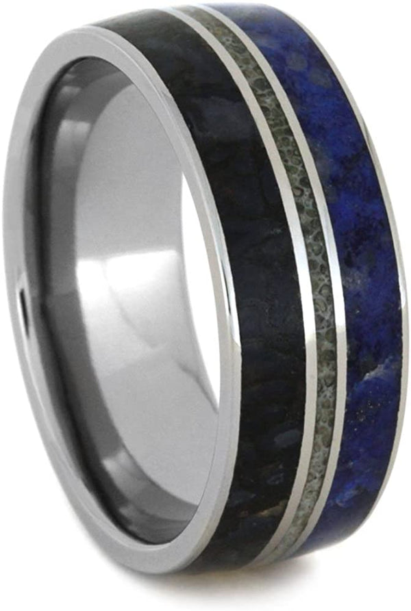 Lapis Lazuli, Dinosaur Bone, Deer Antler 9mm Comfort-Fit Titanium Wedding Band, Size 15.5