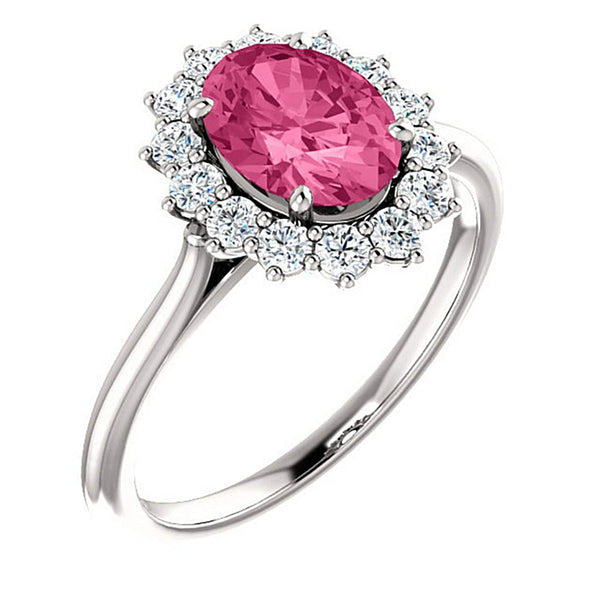 Pink Tourmaline and Diamond Halo 14k White OR Yellow Gold Ring, Size 7