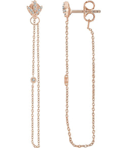 Diamond Chain Earrings, 14k Rose Gold (.08 Ctw, Color H+, Clarity I1)