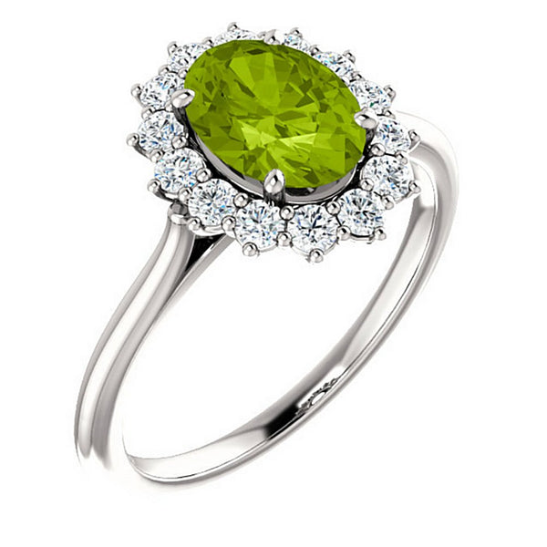 Arizona Peridot and Diamond Halo 14k White OR Yellow Gold Ring, Size 7