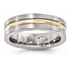 Gold Inlay Collection Brushed Titanium, 14k Yellow Gold 6mm Band