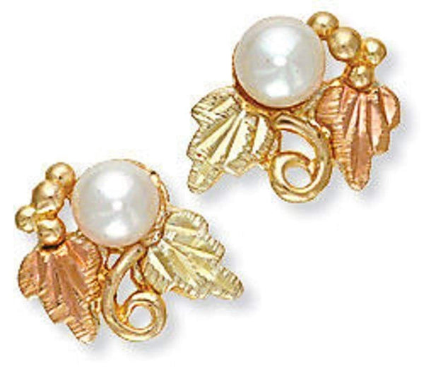 White Cultured Pearl Leaf Stud Earrings, 10k Yellow Gold, 12k Green and Rose Gold Black Hills Gold Motif (4-4.5MM)
