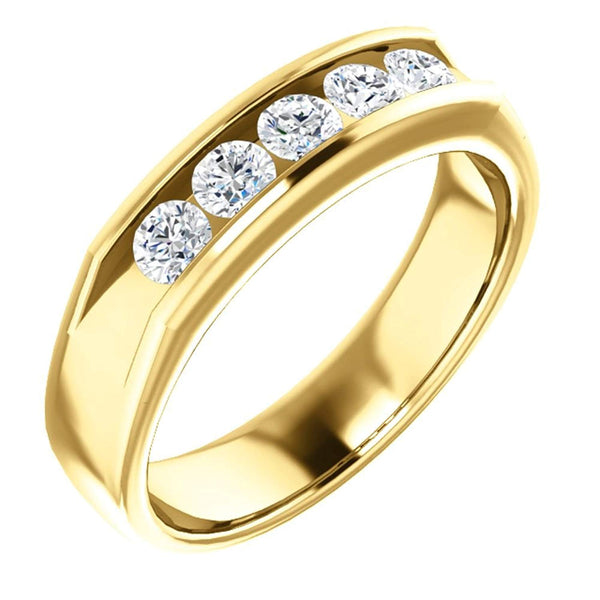 Men's 5-Stone Diamond Wedding Band,14k Yellow Gold (1 Ctw, Color G-H, SI2-SI3 Clarity) Size 11