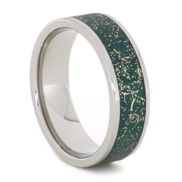 The Men's Jewelry Store (Unisex Jewelry) Green Stardust with Meteorite and 14k Yellow Gold 7mm Comfort-Fit Titanium Ring