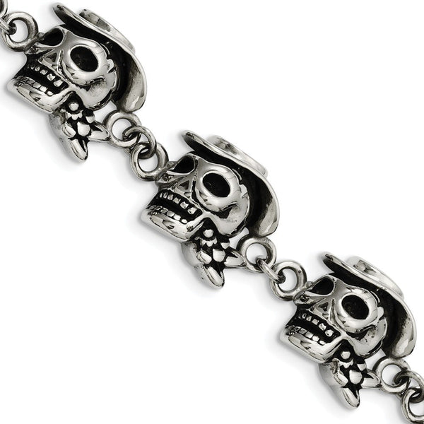 Men's Stainless Steel 16mm Antiqued Skull Pirates Link with Hat Bracelet, 8.5""