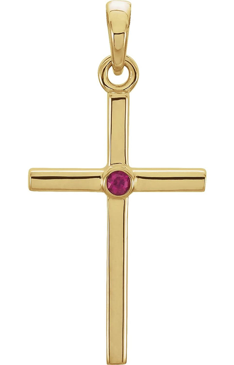 Ruby Inlay Cross 14k Yellow Gold Pendant (22.8x11.3MM)