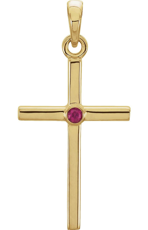 Ruby Inlay Cross 14k Yellow Gold Pendant (30.6x16.6MM)