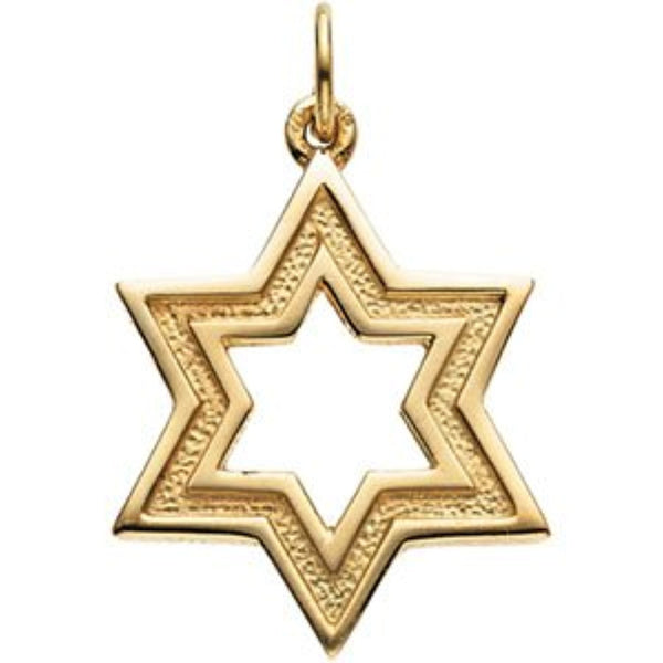 14k Yellow Gold Star of David Pendant (Made in Holy Land)