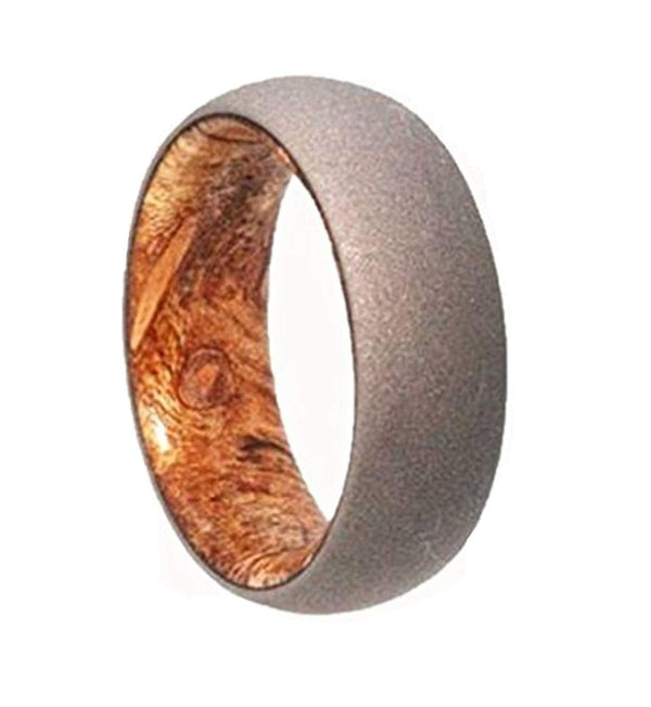 Sindora Wood Sleeve with Sandblasted Titanium Overlay 6mm Comfort Fit Band