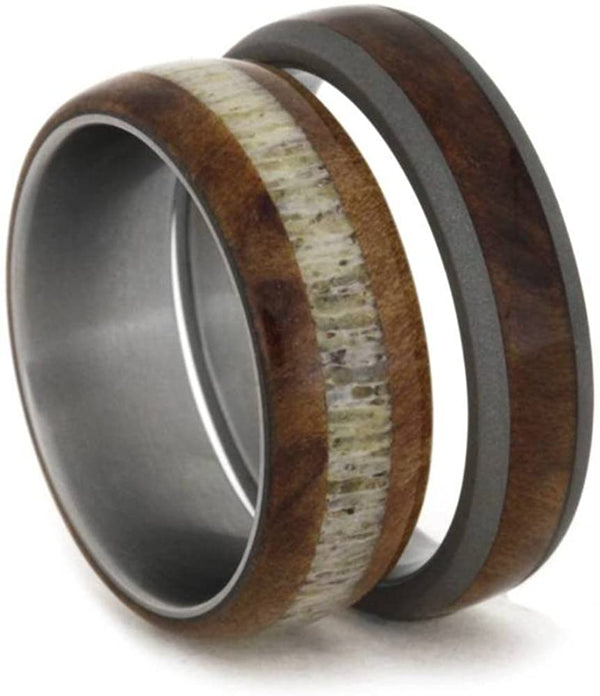 The Men's Jewelry Store (Unisex Jewelry) Elk Antler, Redwood Titanium Band and Redwood, Sandblasted Titanium Band, His and Hers Wedding Band Set