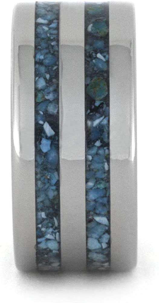 Turquoise Inlay 10mm Comfort-Fit Titanium Band, Size 14.75