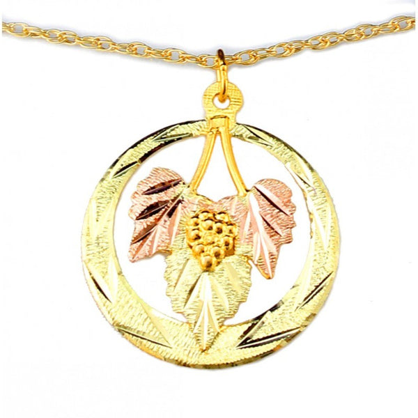 Diamond-Cut Circle with Leaves Pendant Necklace, 10k Yellow Gold, 12k Green and Rose Gold Black Hills Gold Motif, 18""