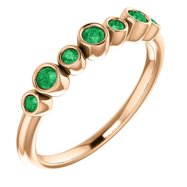 Emerald 7-Stone 3.25mm Ring, 14k Rose Gold, Size 6.75