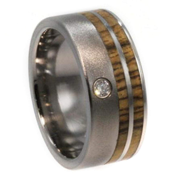 Diamond, Bocote Wood Stripe 10mm Comfort Fit Frosted Titanium Wedding Band, Size 11.25