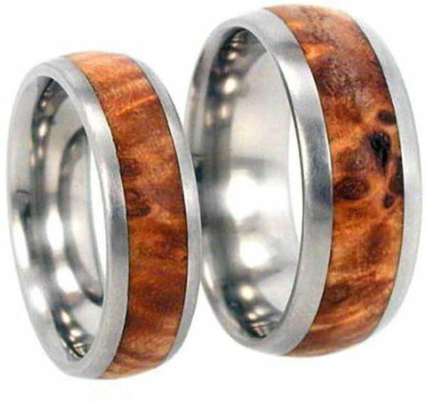 Titanium, Black Ash Burl Wood, His and Hers Wedding Band Set