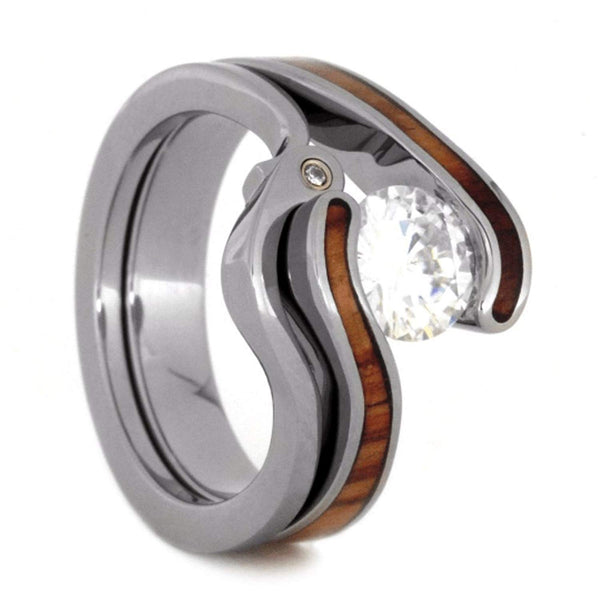 Charles & Colvard Forever One Moissanite, Tulip Wood Engagement Ring, Diamond Titanium Wedding Band, Bridal Set