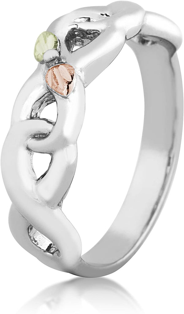 Infinity Vine and Leaf Band, Sterling Silver, 12k Gold Pink and Green Gold Black Hills Gold Motif, Size 2.25