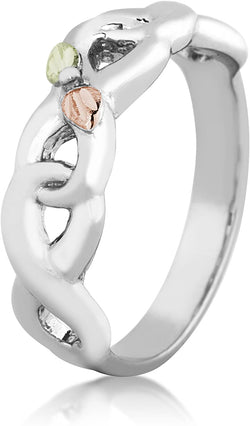 Infinity Vine and Leaf Band, Sterling Silver, 12k Gold Pink and Green Gold Black Hills Gold Motif, Size 4.25