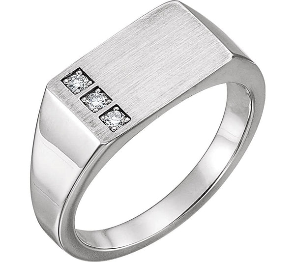 Men's Diamond 3-Stone Past, Present, Future Signet Ring, Rhodium-Plated 14k White Gold (.10 Ctw, G-H Color I1 Clarity)