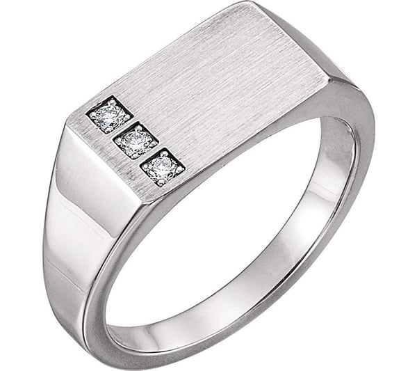 Men's Platinum Diamond 3-Stone Past, Present, Future Signet Ring (.10 Ctw, G-H Color, SI2-Si3 Clarity)