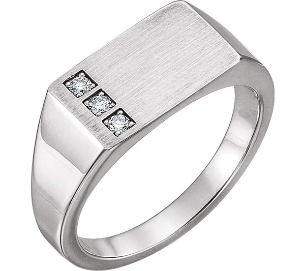 Men's Diamond 3-Stone Past, Present, Future Signet Ring, Sterling Silver (.10 Ctw, G-H Color I1 Clarity)