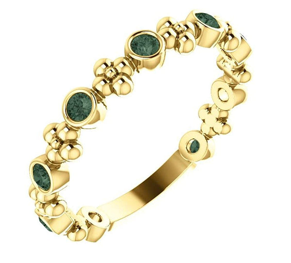 Chatham Created Alexandrite Beaded Ring, 14k Yellow Gold