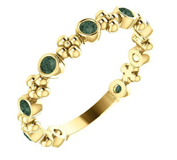 Genuine Alexandrite Beaded Ring, 14k Yellow Gold