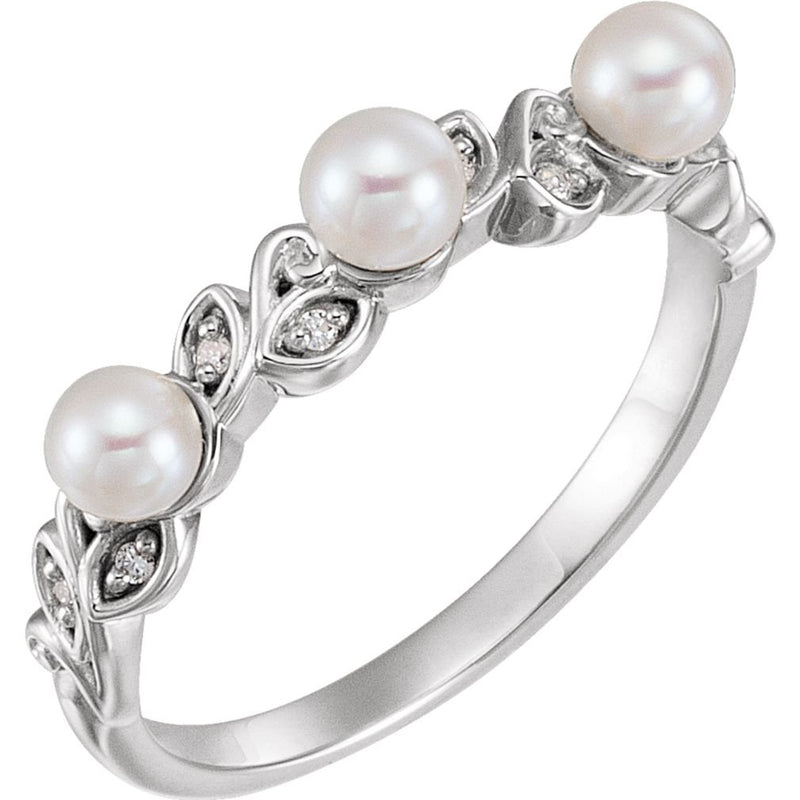 White Cultured Pearl, Diamond Stackable Leaf Ring, Sterling Silver (3.5mm)(.03Ctw, Color G-H, Clarity I1)