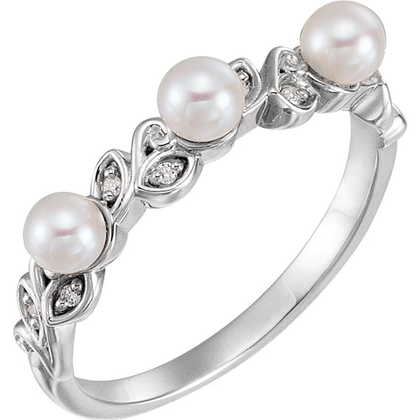 White Freshwater Cultured Pearl, Diamond Stackable Leaf Ring, Rhodium-Plated 14k White Gold (3.5mm)(.03Ctw, Color G-H, Clarity I1)
