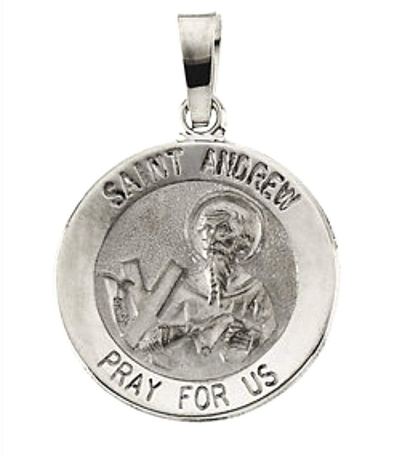 Sterling Silver Round St. Andrew Medal (18.5 MM)