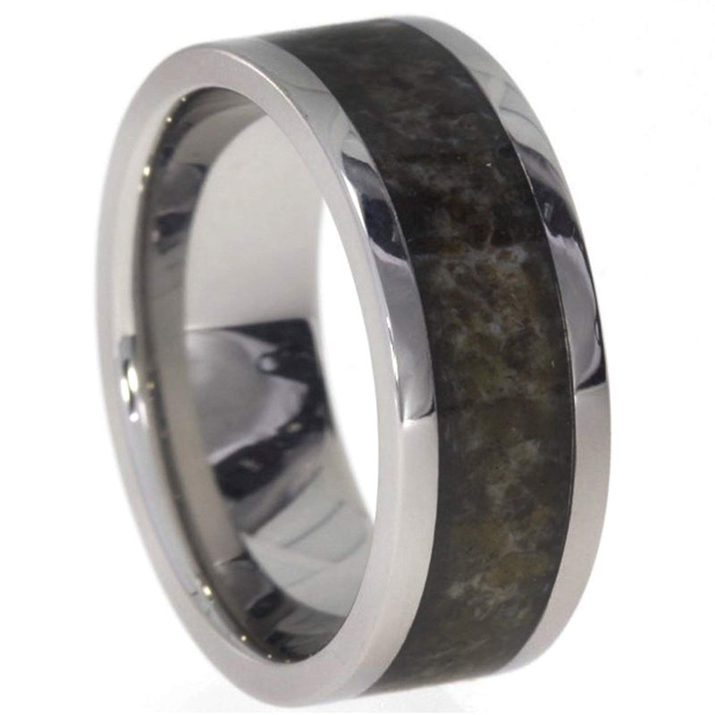 Custom Deer Antler Inlay 8mm Comfort Fit Titanium Band