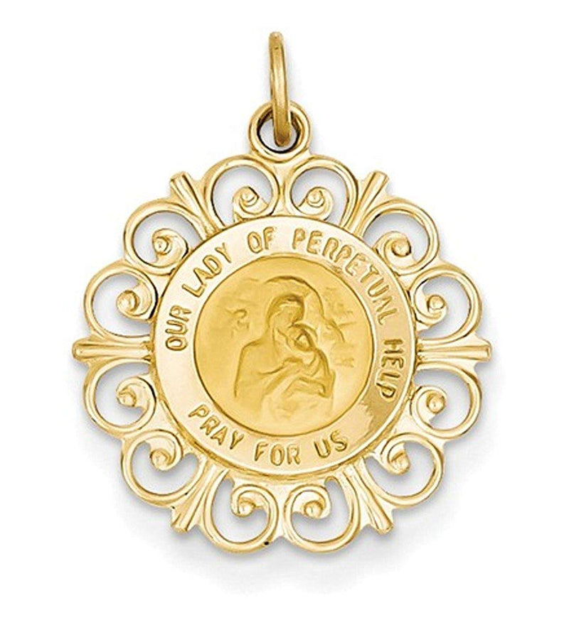14k Yellow Gold Our Lady of Perpetual Help Medal Charm (24X19MM)