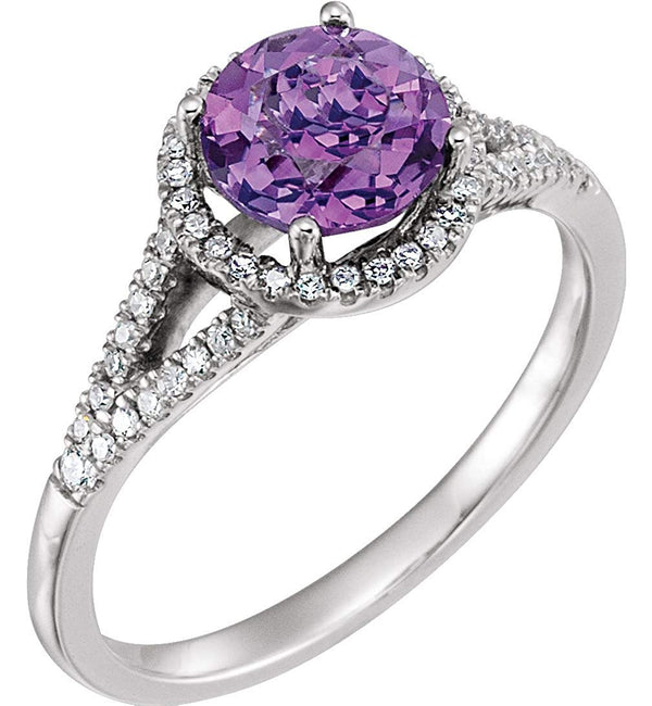 Amethyst and Diamond Halo Ring, Rhodium-Plated 14k White Gold (.2 Ctw, H-J Color, I2-I3 Clarity)
