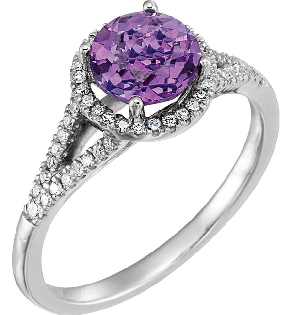 Amethyst and Diamond Halo Ring, Rhodium-Plated 14k White Gold (.2 Ctw, H-J Color, I2-I3 Clarity), Size 6.75