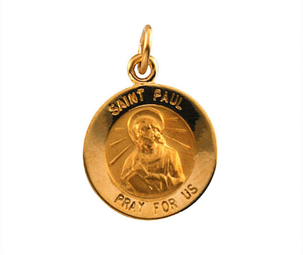 14k Yellow Gold Round St. Paul the Apostle Medal (15MM)