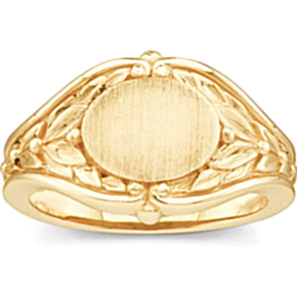 Women's Oval Floral Embossed 10k Yellow Gold Signet Ring (10.2MM)
